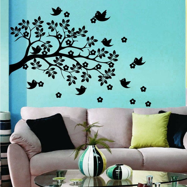 Shop Wall Decal Tree Branch With Bird Flowers Wall Decals For Kids Playroom  Nursery Decor   Free Shipping On Orders Over $45   Overstock   11179816