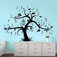 Wall Decal Tree Silhouette With Birdcage Bird Music Notes Wall Decals Home Decor