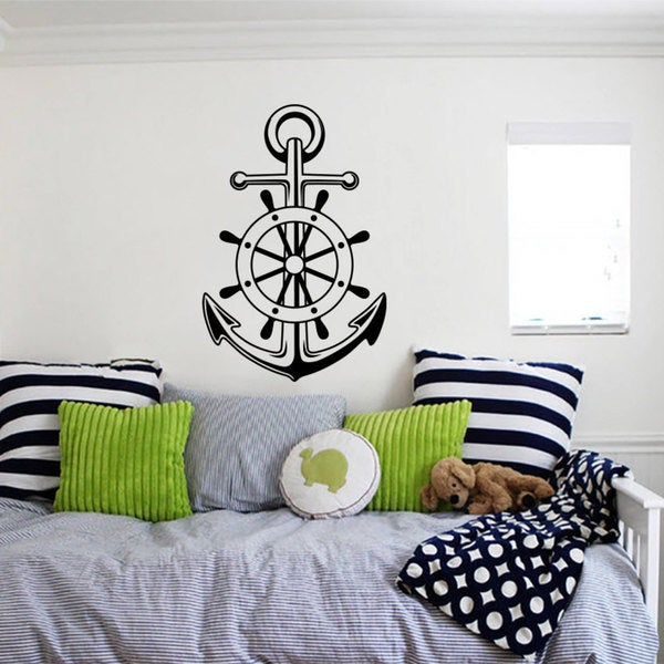 Wall Art Stickers East Rand : Nautical ship s anchor west east star wall art sticker