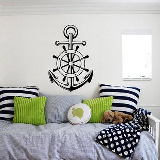 Nautical Ship's Anchor West East Star Wall Art Sticker Decal