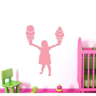 Girl with Ice Cream Wall Art Sticker Decal Pink