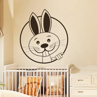 Bunny Looks Wall Art Sticker Decal Brown