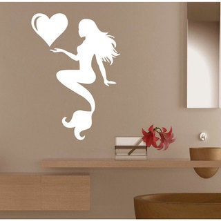 Mermaid with Heart Wall Art Sticker Decal White