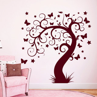 Butterfly Tree Leaves Wall Art Sticker Decal Red