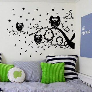 Owls on a Branch Wall Art Sticker Decal