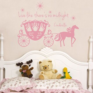 Quotes Live Like There's No Midnight Wall Art Sticker Decal Pink