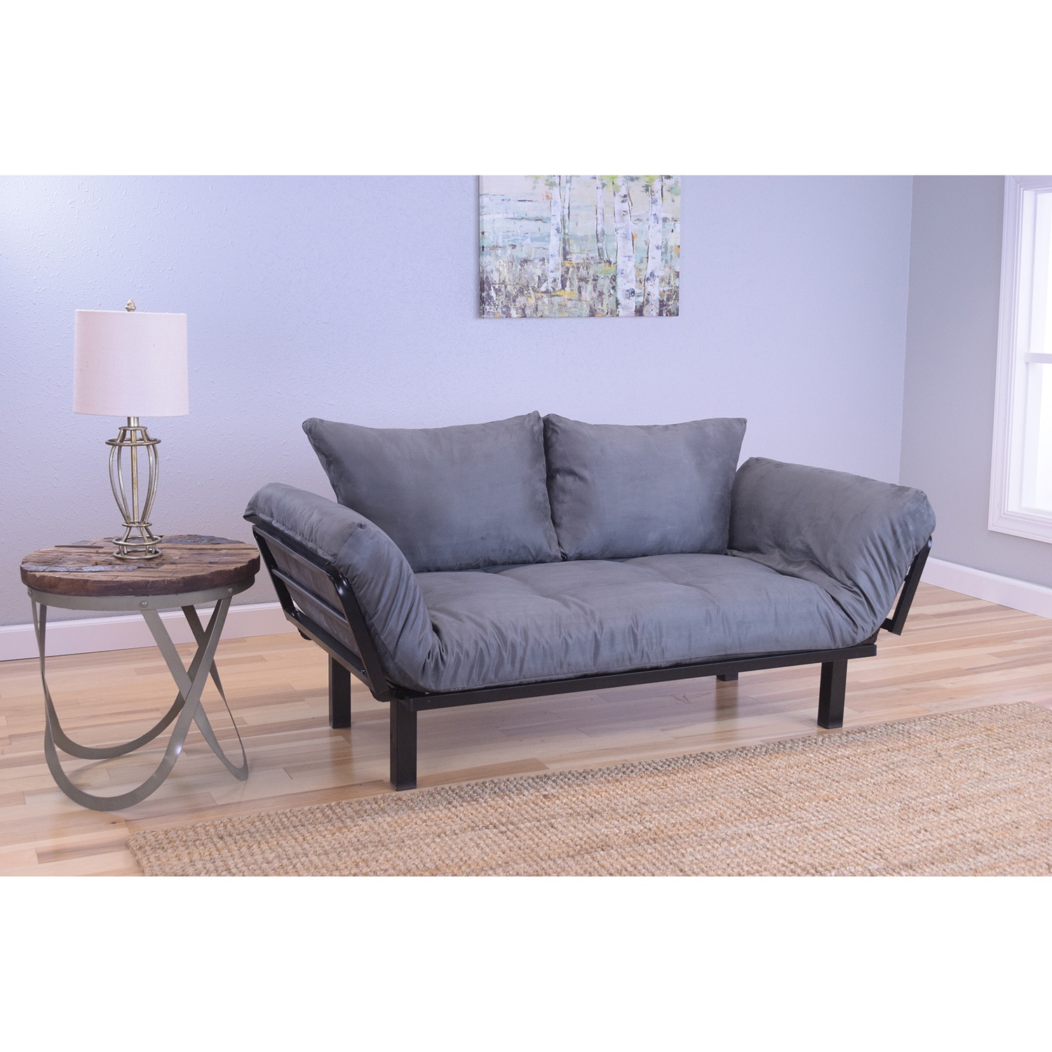 Somette Eli Spacely Daybed Lounger with Suede Grey Mattre...
