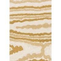 "Mid-century Ivory/ Gold Abstract Shag Rug - 3'10"" x 5'7"""