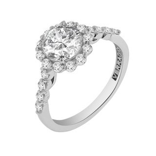 Verragio 18k White Gold 5/8ct TDW Diamond and Cubic Zirconia Engagement Ring (F-G, VS1-VS2)