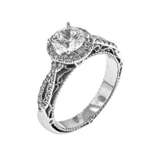 Verragio 18k White Gold 1/3ct TDW Diamond and Cubic Zirconia Center Halo Engagement Ring (F-G, VS1-VS2)