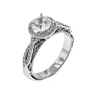 Verragio 18k White Gold 1/3ct TDW Diamond and Cubic Zirconia Center Halo Engagement Ring (F-G, VS1-VS2)