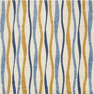 Jullian Ivory/ Multi Wavy Stripe Shag Square Rug (7'7 x 7'7)