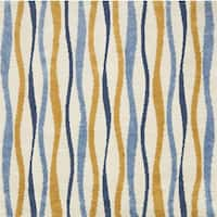 Carson Carrington Falkoping Blue/Gold Wavy Stripe Shag Area Rug - 7'7 x 7'7
