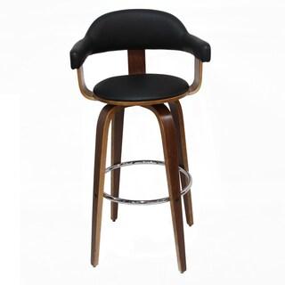 Adeco Wood Frame, Black Seat PU Deluxe BarStools