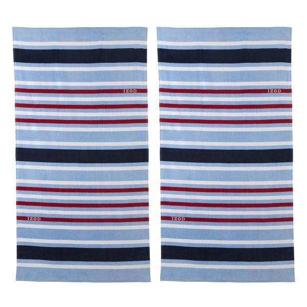 Izod Deconstructed Stripe Beach Towel Set Of 2