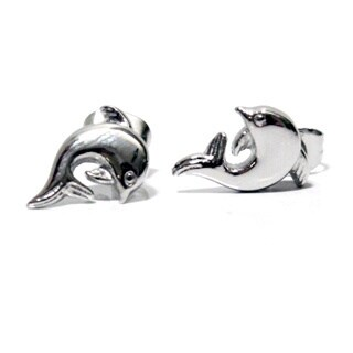 Magnetic Therapy Silver Dolphin Earrings