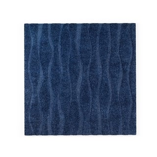 Jullian Navy Wavy Stripe Shag Square Rug (7'7 x 7'7)