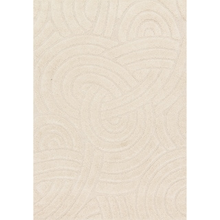 Jullian Ivory Abstract Shag Square Rug (7'7 x 7'7)