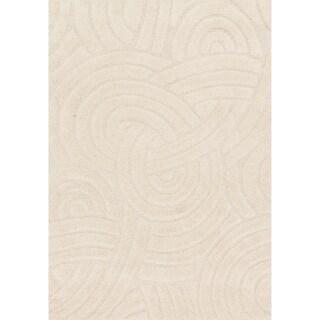 Jullian Ivory Abstract Shag Square Rug (7'7 x 7'7)