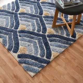 Jullian Ivory/ Blue Shag Square Rug (7'7 x 7'7)