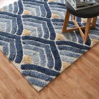 Mid-century Ivory/ Blue Geometric Square Shag Area Rug - 7'7 x 7'7