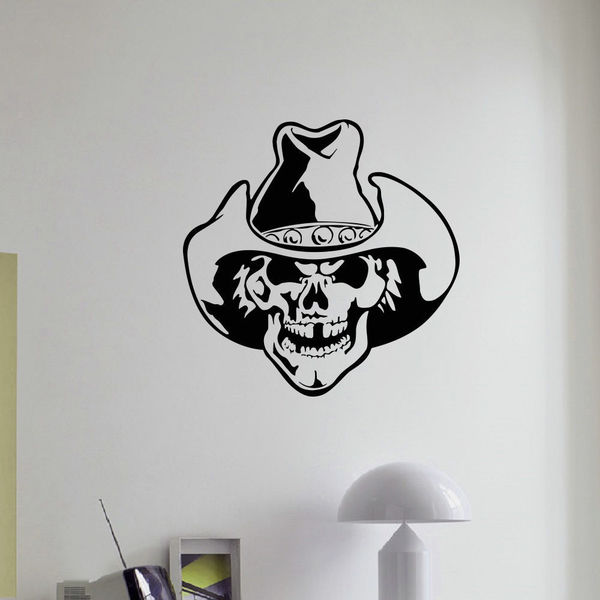 Shop Skull Cowboy Gangster Wall Art Sticker Decal - Free Shipping On ...