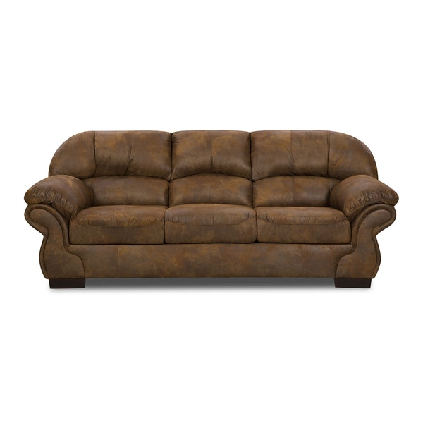 Shop Simmons Upholstery Pinto Tobacco Sofa Free Shipping