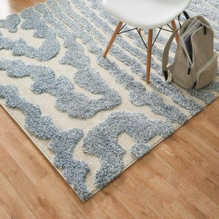 Jullian Ivory/ Light Blue Abstract Shag Square Rug (7'7 x 7'7)
