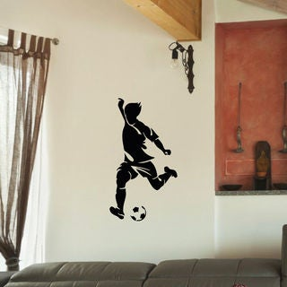 Soccer Player and Ball Wall Art Sticker Decal