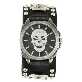 Link to Nemesis Men's Faded Black Iron Cross Studded Leather FMIC935K Black Skull Head Watch Similar Items in Men's Watches