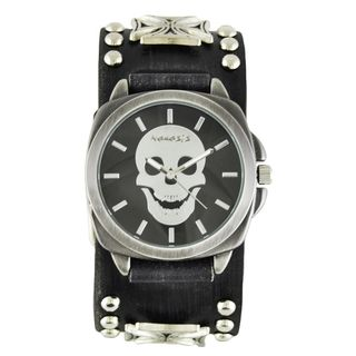 Nemesis Men's Faded Black Iron Cross Studded Leather FMIC935K Black Skull Head Watch