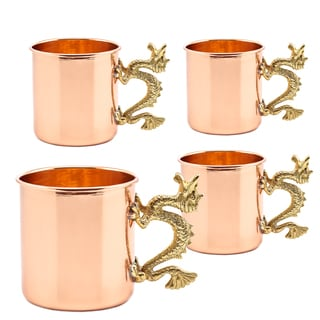 20 Oz. Solid Copper Dragon Handle Straight Sided Mugs, Set of 4