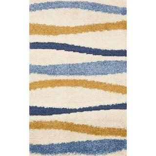 Jullian Ivory/ Multi Wavy Stripe Shag Rug (2'3 x 3'9)