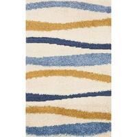 Carson Carrington Falkoping Blue/Gold Wavy Stripe Shag Area Rug - 2'2 x 3'9