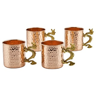 "20 Oz. Solid Copper ""Dragon"" Handle Hammered Straight Sided Mugs, Set of 4"
