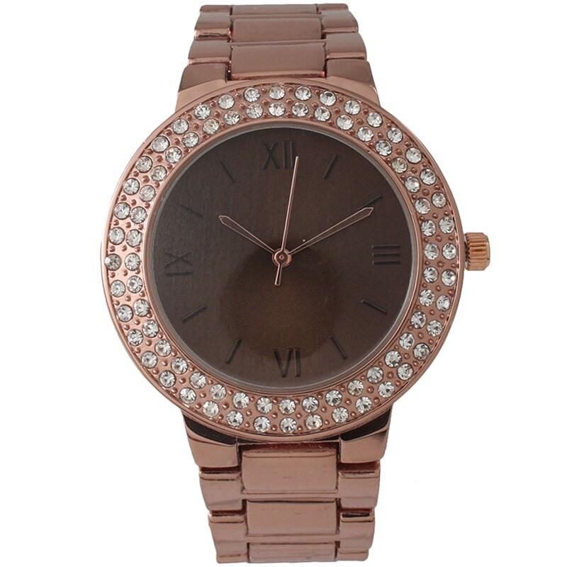 Olivia Pratt Glamour Rhinestone Bracelet Watch (Brown), W...