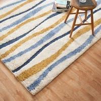 Carson Carrington Falkoping Blue/Gold Wavy Stripe Shag Area Rug - 3'10 x 5'7