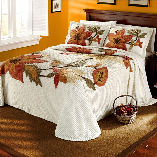 New Leaf Chenille Bedspread