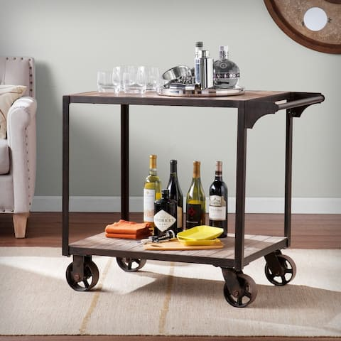 Carbon Loft Cristofori Industrial Wood Bar Cart