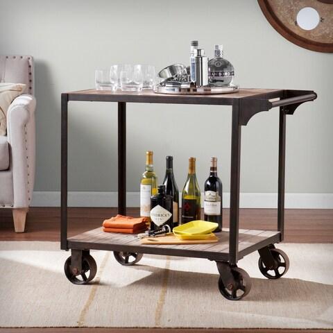 Carbon Loft Cristofori Black/Grey Iron Wood-topped Bar Cart