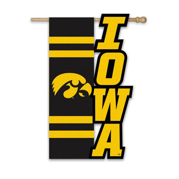 University of Iowa Hawkeyes Applique Garden Flag - Free Shipping On