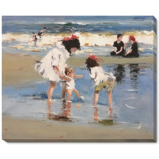 Edward Potthast 'Children Playing at the Seashore' Hand Painted Framed Canvas Art