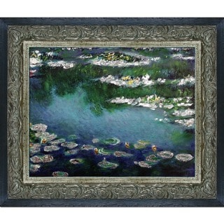 Claude Monet 'Water Lilies' (Luxury Line) Hand Painted Framed Canvas Art
