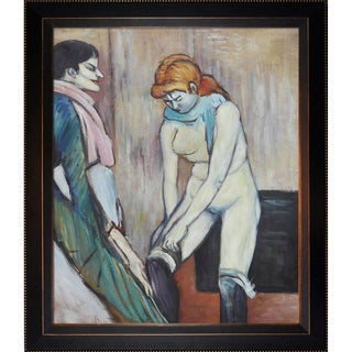 Henri de Toulouse-Lautrec 'Woman Pulling up her Stocking' Hand Painted Framed Canvas Art