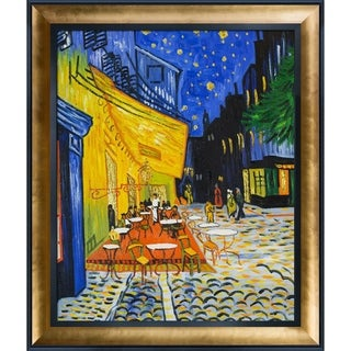 Vincent Van Gogh 'Cafe Terrace at Night' (Luxury Line) Hand Painted Framed Canvas Art