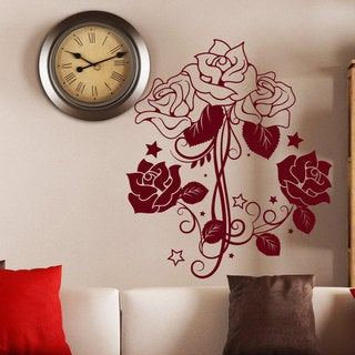 Wall Decal Flower Roses Design Decals for Florists Bedroom Bathroom Vinyl Stickers Decor Red