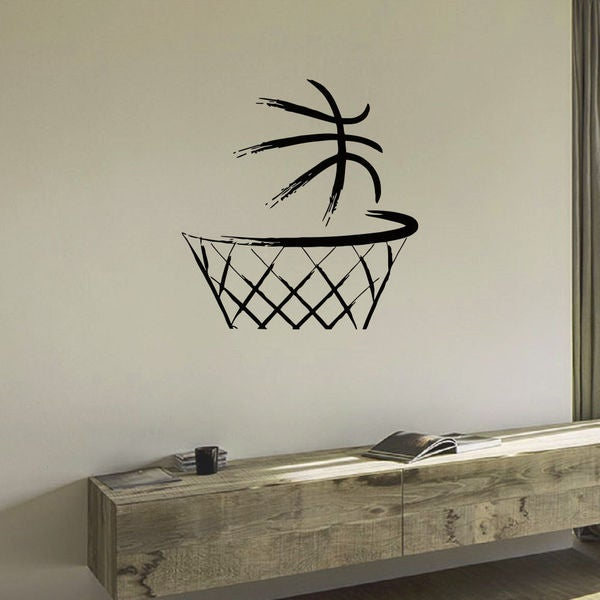 Basketball Ball in the Basket Wall Art Sticker Decal