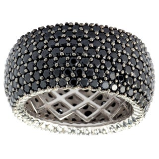 Sterling Silver Black Spinel Wide Band Ring