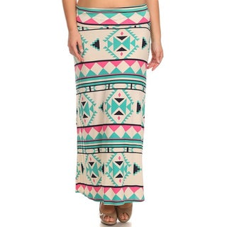 Moa Collection Women's Plus Size Geomteric Print Skirt