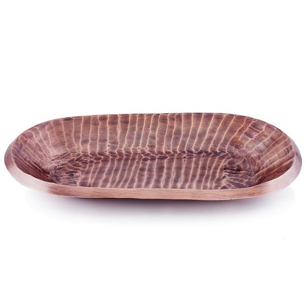 Quot Tribal Quot Antique Copper Finish Aluminum Oval Tray 17 75 Quot X